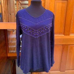 Weekends by Chico's Blue Cotton Embroidered Top